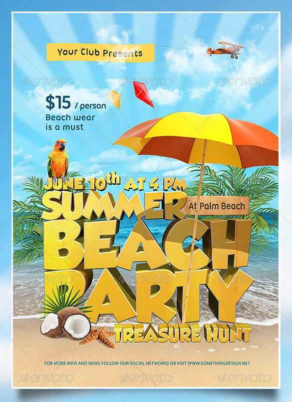 Amazing Psd Beach Party Flyer Templates  Designs  Free
