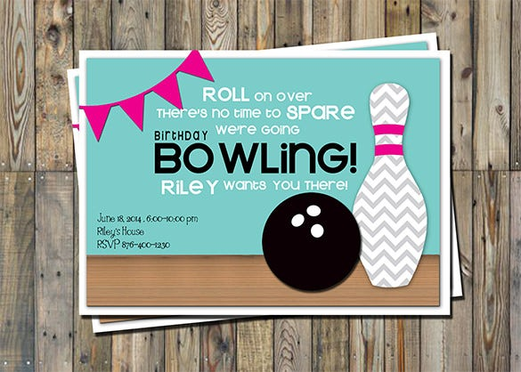 Outstanding Bowling Invitation Templates  Designs  Free