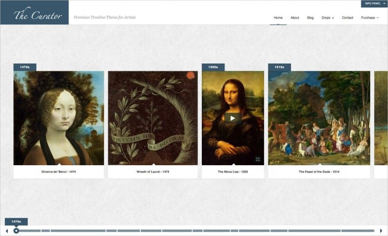 the curator premier wp timeline theme for artists 788x480