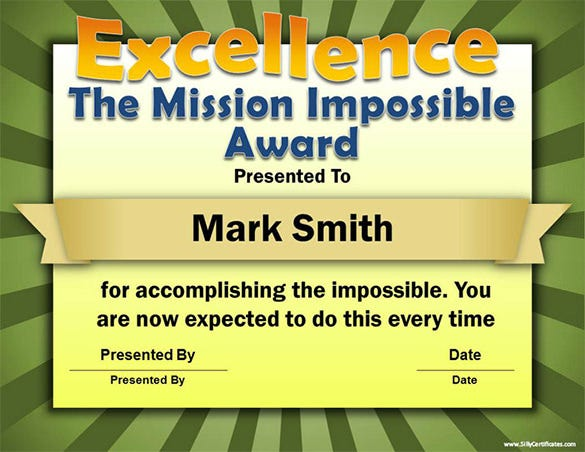 the mission impossible funny certificate template