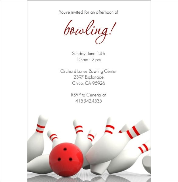 15+ outstanding bowling invitation templates & designs! | free, Birthday invitations