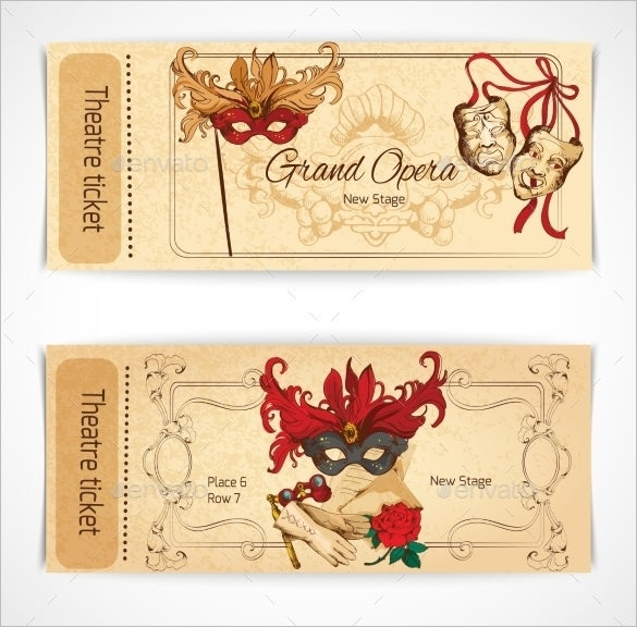 theatre sketch ticket design eps