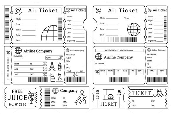 Printable Ticket Templates For Cinema, Zoopark, Airline  Food Tickets Template