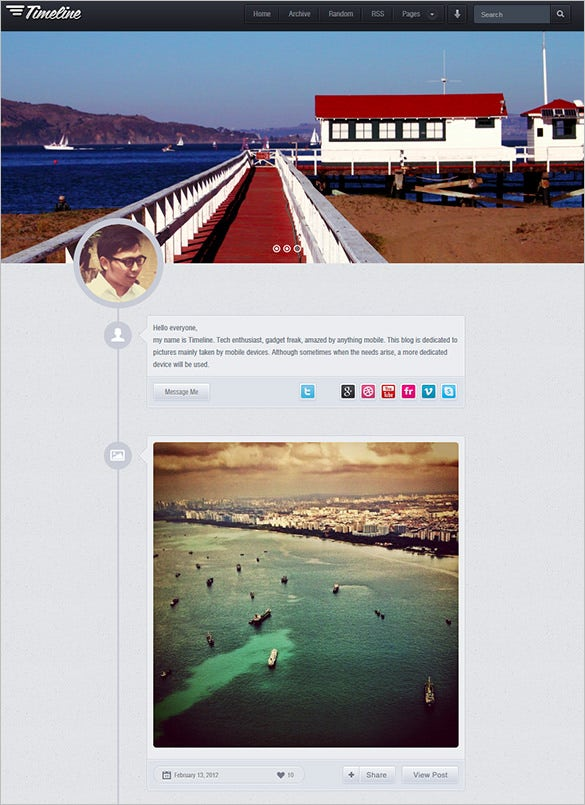 timeline website premium tumblr theme