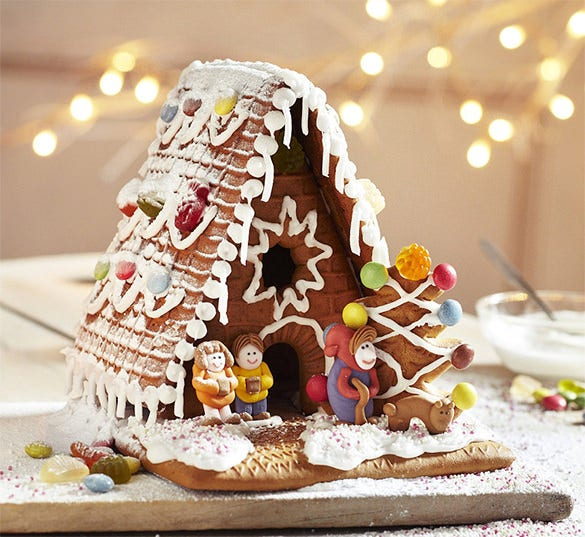 traditional gingerbread house kit template