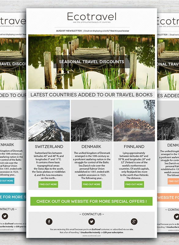 Travel Holiday Newsletter Template U2013 $4  News Letter Formats