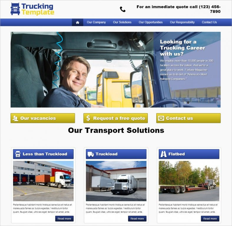 trucking wordpress theme 788x767