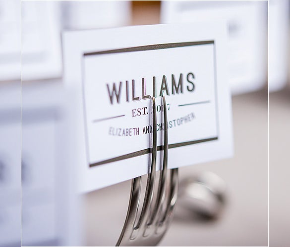 twisted fork vintage inspired stationery holder with wedding place name card