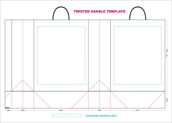 Twisted Handle Paper Bag Template For Kids  Printing Paper Template