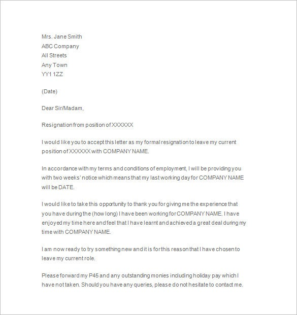two weeks' notice formal letter template