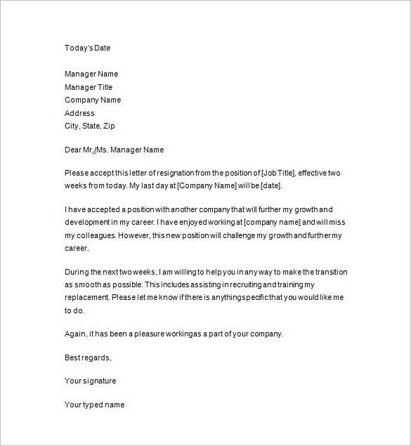 Week Notice Letters Resignation Letter Samples Short Notice Sample