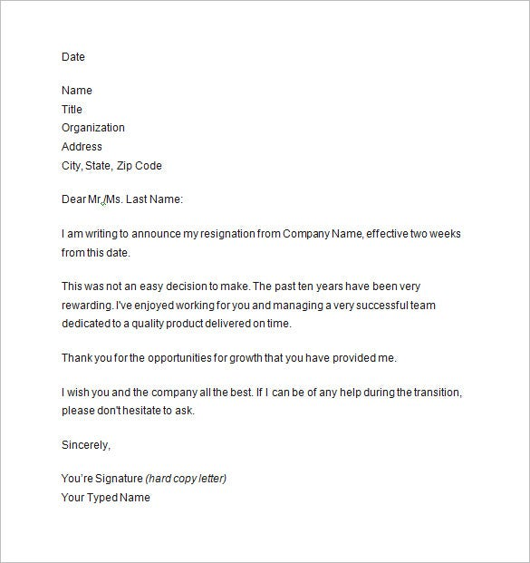 two weeks notice letter example - Two Weeks Notice Format
