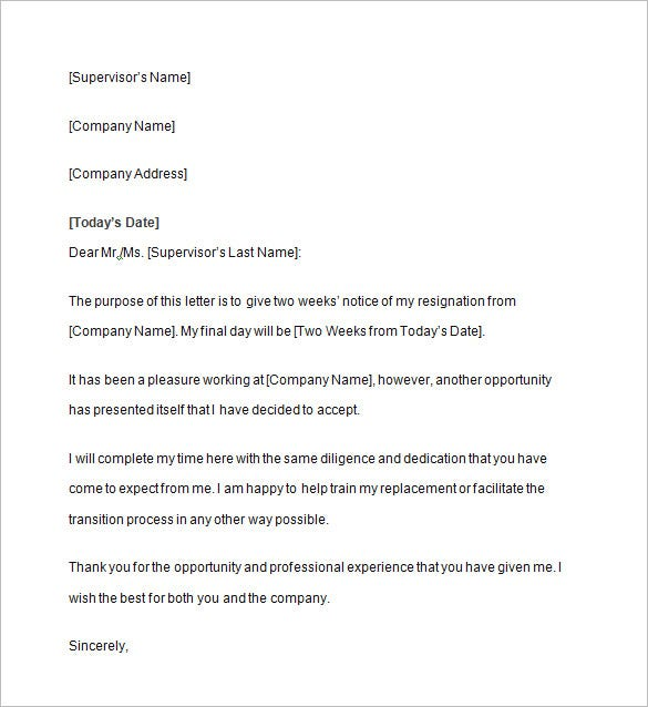 two weeks notice letter template - Two Weeks Notice Format
