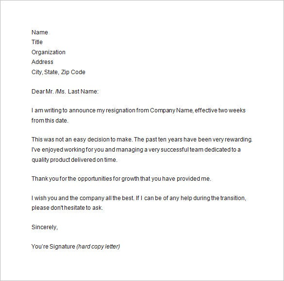 Two Weeks Notice Resignation Letter Sample Template