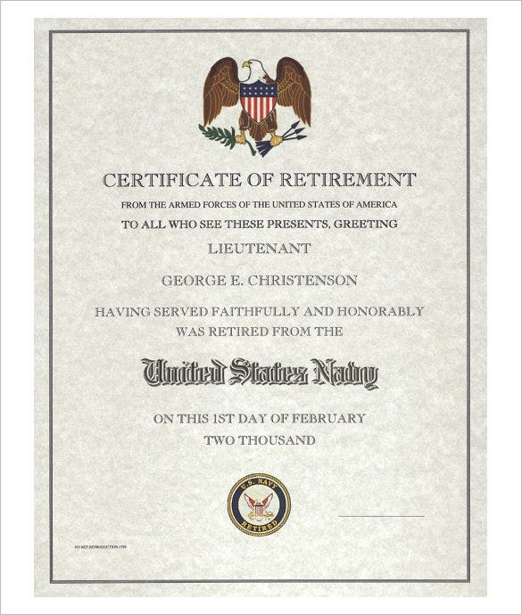 10 retirement certificate templates free pdf format download us navy retirement certificate template yadclub Gallery