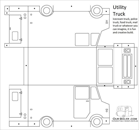 utility truck paper car template download