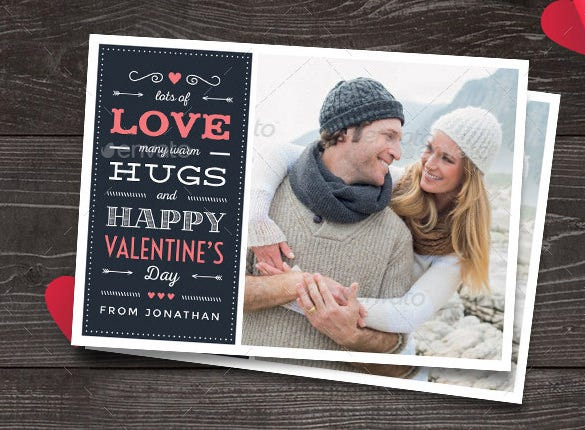 valentines day psd photo card template