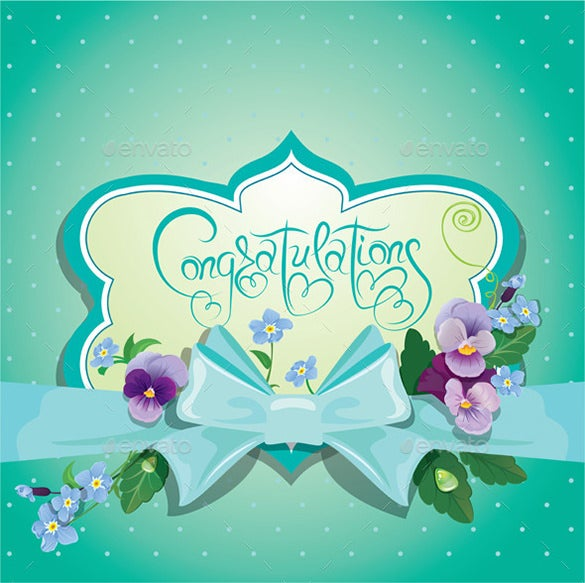 This Congratulations Card Template Is Available In EPS File Format. It Has  A Blue Base With Colorful Floral Design, Polka Dots And A Blue Bow With In  The ...  Congratulations Card Template