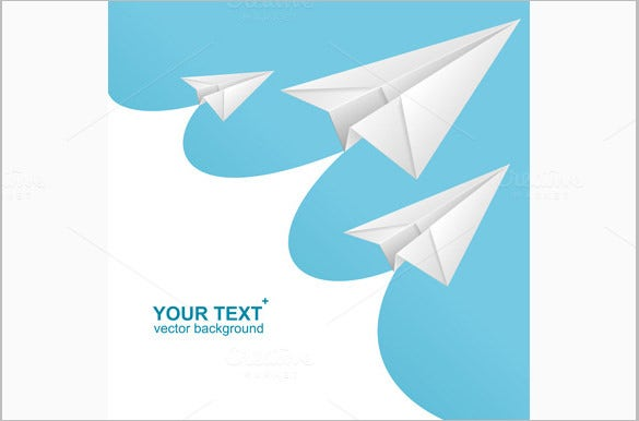 vector white paper airplane card 5