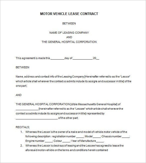 Vehicle Lease Contract Template Free Download  Free Download Lease Agreement