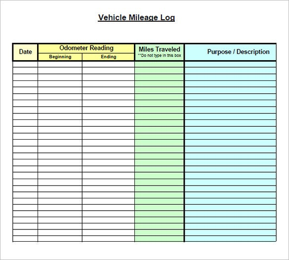 Mileage Log Templates  Free Word Excel Pdf Documents Download