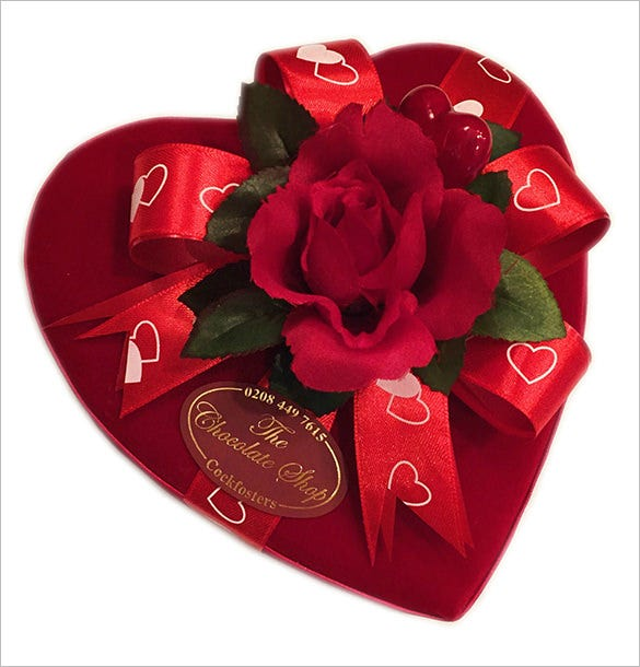 velvet heart shaped gift box