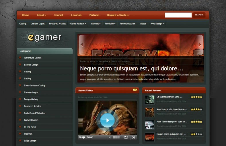 Video Game Blog WordPress Theme