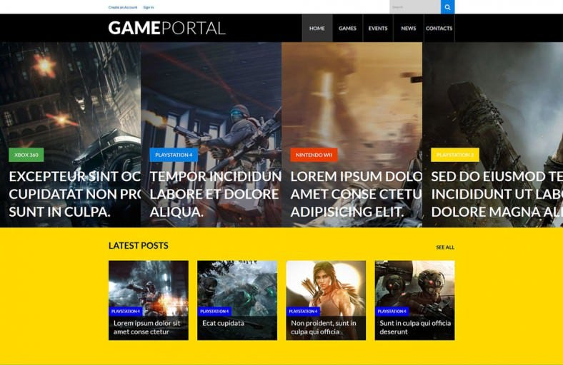 video gaming entertainment wordpress theme 788x512