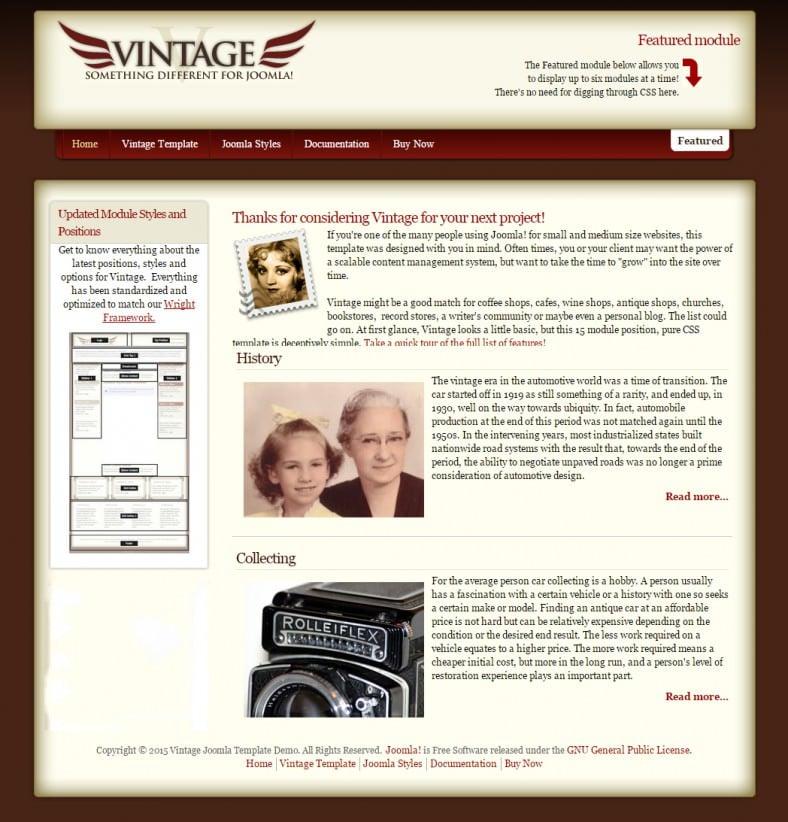 Vintage Joomla Templates Vintage Style Joomla Templates & Themes | Free & Premium ...