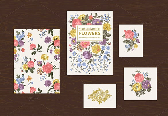 vintage floral anniversary invitation card set 10