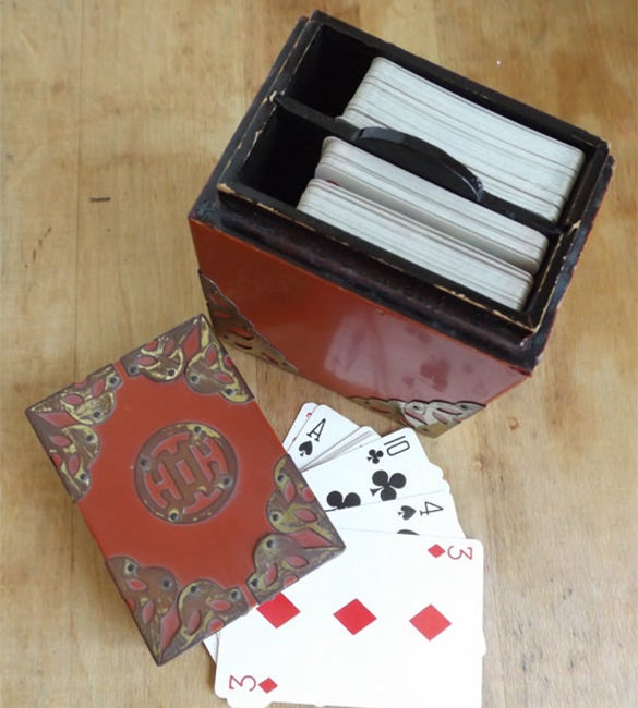 vintage japanese wooden playing card box