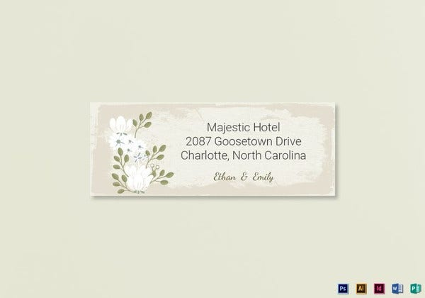 vintage wedding address labels card indesign template