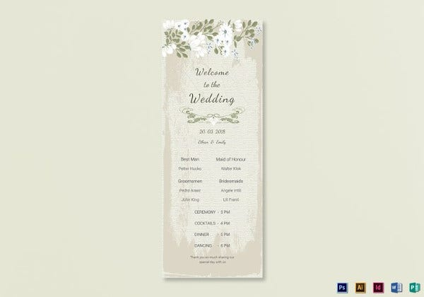vintage wedding program card photoshop template