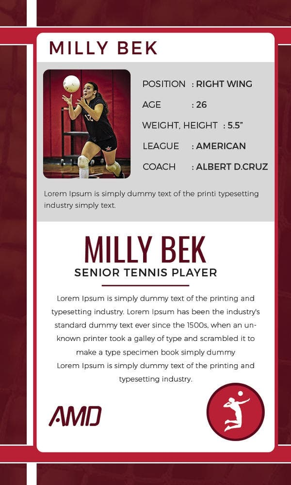 volley-ball-trading-card-template