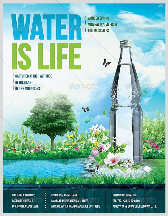 water is life advertising flyer template