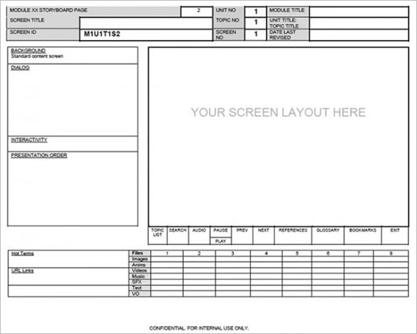 website sceen layout storyboard template download