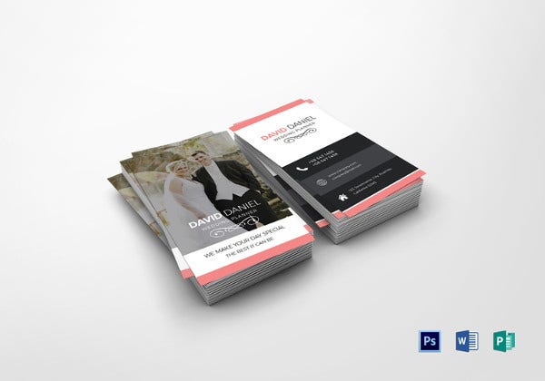 wedding business card photoshop template
