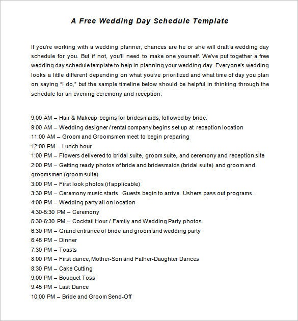 Wedding schedule templates – 29+ free word, excel, pdf, psd format.