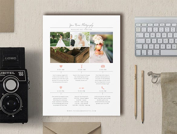 wedding photographer timeline template psd download