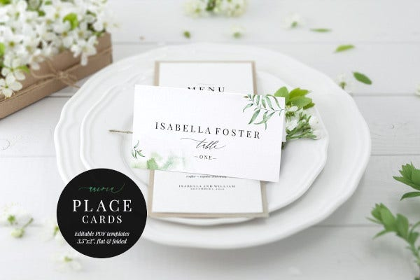 wedding place card aurora