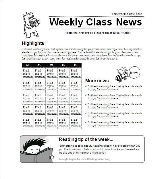 weekly primary school classroom newsletter template