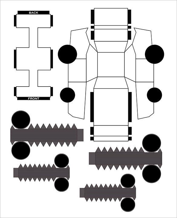 white car template paper toy