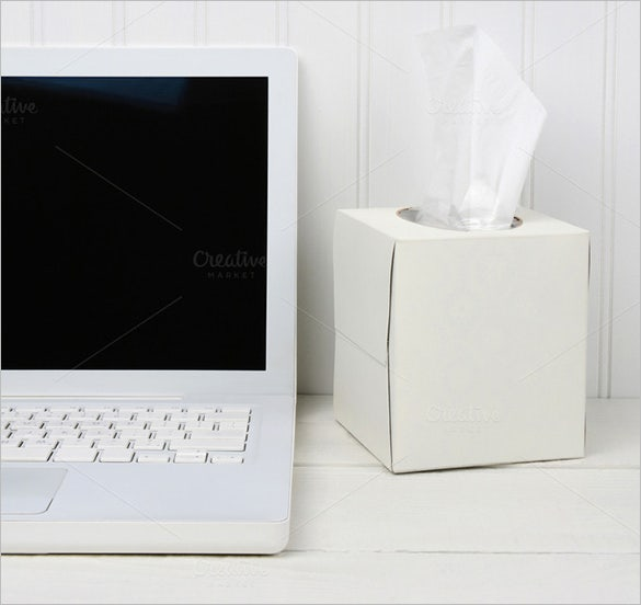 white desk with white tissue box template for 20