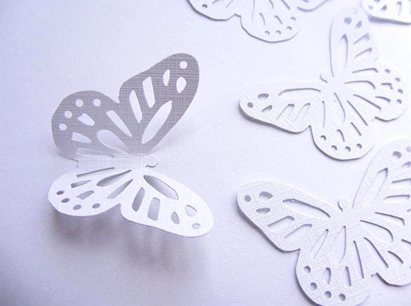 white wedding paper butterfly template craft design