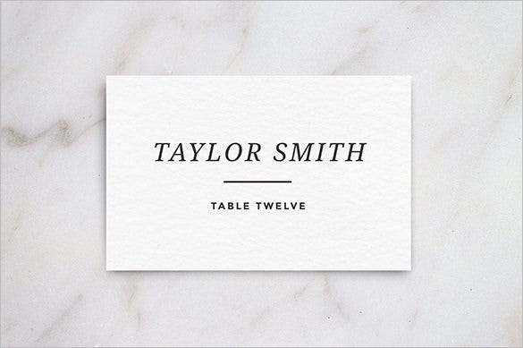 white wedding table place card template