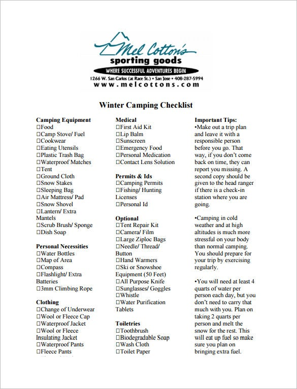 Winter Camping Checklist Template Pdf Download