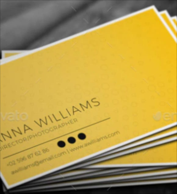 yellow photographer business card