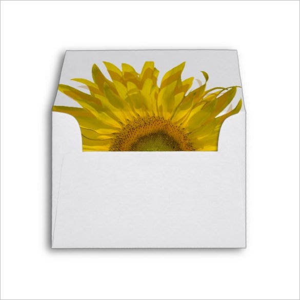 yellow sunflower wedding card a2 envelope