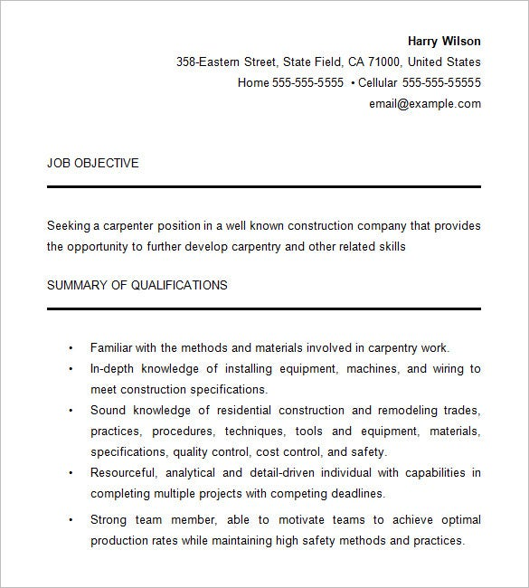 carpenter resume for free download - Carpenter Resume Objective Samples