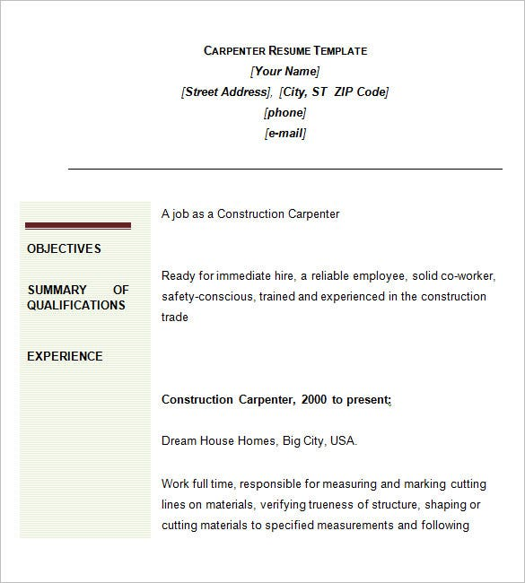 Carpenter Resume Template – 9+ Free Samples, Examples ...